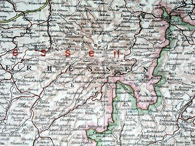 1937 Original Vintage Map Of Hessen Hesse Frankfurt Nassau Waldeck Germany 3