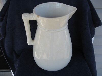 Antique Homer Laughlin Pitcher-1897>1904-Eagle Over Lion Mark-Stone China-12in.T 2