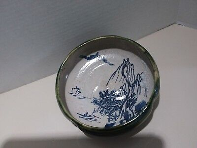 Antique Vintage Japanese Hand Glazed Pottery Bowl Hand Made - Hand Painted 5