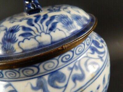 Chinese Blue White Porcelain Covered Jar Metal Clad Rim Shishi Finial Ex Skinner 11