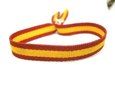 "Pulsera artesanal "" Bandera España"" en tela - ajustable (Oct.) 4"