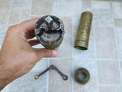 Primitive Antique Ottoman Brass-Carved TUGRA Marked Hand Coffee Grinder 19th #04 10