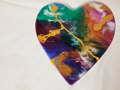 "8"" Resin Heart on Wood - Resin Art - Abstract Art - Resin Painting 3"