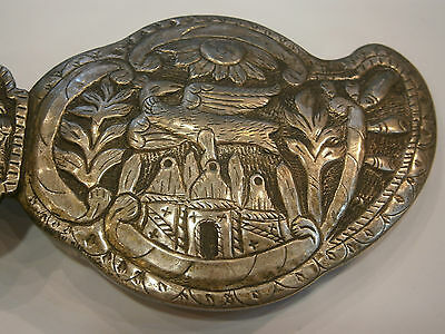 ANTIQUE OLD UNIQUE FOLKLORE SILVER BELT CLASP BUCKLE 19'c - Church /Bird /Sun 3