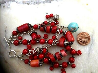 Vintage Chinese Coral And Turquoise 3 Strings Bracelet 5
