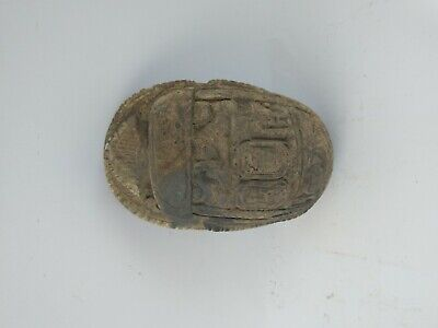 ANCIENT EGYPTIAN ANTIQUE SCARAB Carved White Carved Stone 1456-1256 BC 2