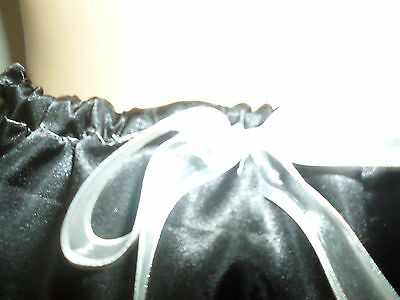 Adult Baby Sissy French Maid Black Satin White Lace Trim Panties Bows 30-45 W 5