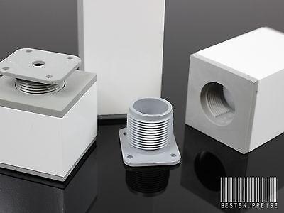 4-er SET 60x60 / 60-180mm WEISS ALU Möbelfüße Sockelfüße Schrankfüße Tischbeine
