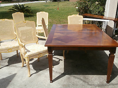 Vintage Baker French Provincial Dining Room Set Country Cane Back