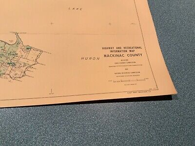 Vintage 1974 Mackinac County Michigan DNR Highway Recreation Information Map 2