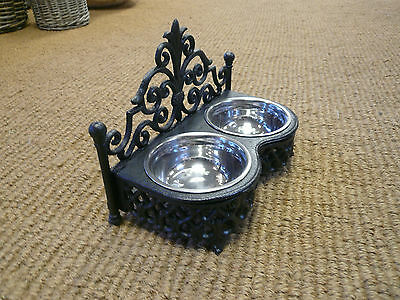 Cast iron Dog bowls / Cat bowl holder ,Stainless steel dishes , Posh pet bowls 2