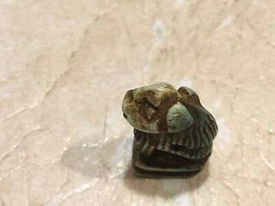 EGYPT MUMMY LION AMULET 600BC Hieroglyphics spell  Certificate Authenticity lot 8