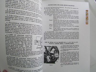 1923 1 1/2 & 2 1/2HP N Fuller & Johnson Gas Engine Magneto  Instructions Manual 2