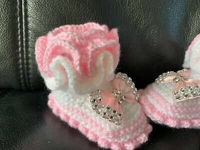 New hand knitted  Romany Bling baby girl booties/crochet hat 0-3 months 4