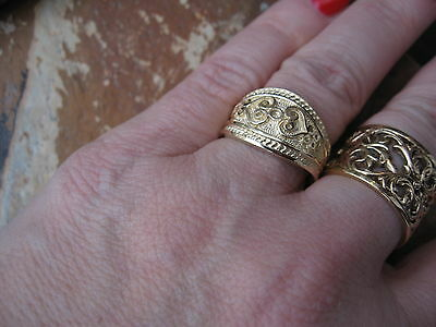14 KT Yellow Gold Polished Byzantine Finish Etruscan Design Cigar Band Ring NEW 2