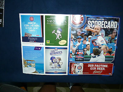 7 25 2015 PHOTOCOPY of TED'S SCORECARD CUBS COLE HAMELS PHILLIES NO HITTER NO NO 7