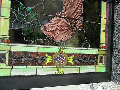 10.5' Monumental Jeweled Antique Stained Glass Portrait Window  Ny Estate # 1 11