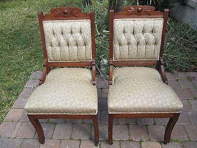 1 of 11 2 Antique Eastlake Walnut Carved Parlor Chairs - 2 ANTIQUE EASTLAKE Walnut Carved Parlor Chairs - $227.50 PicClick