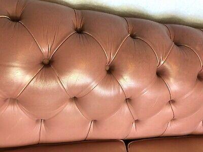 1 Luxury Handmade Vintage Leather Chesterfield Sofa 2 Seater Settee Salmon Pink 4
