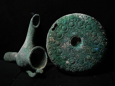 Zurqieh - Beautiful Roman Bronze Oil Lamp With Plate, 100 - 200 A.d 8 • CAD $2,520.00