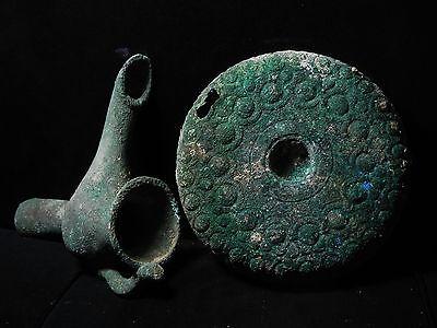 Zurqieh - Beautiful Roman Bronze Oil Lamp With Plate, 100 - 200 A.d 8