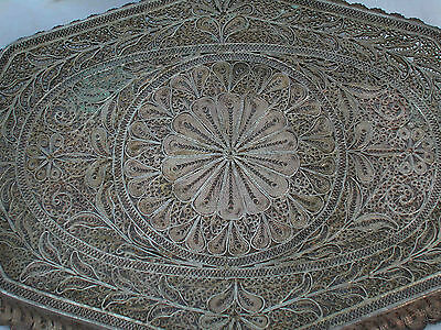 A Fine Solid Silver Antique Middle Eastern Hand Made Filigree Master Piece Tray 6