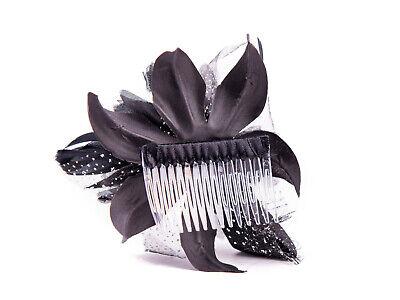 Black Feather Comb Fascinator Wedding Races Proms Bridal Hair Accessory 3 3