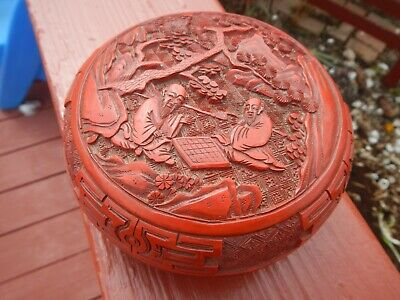 Antique Carved Chinese Cinnabar Lacquer Box Deep Vivid Red Figural Men Checkers 10