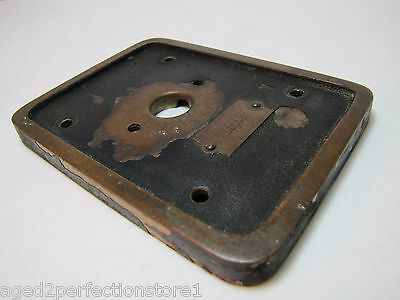 Old EMERGENCY RELEASE No 4 Mount Plate architectural button switch bronze brass 7