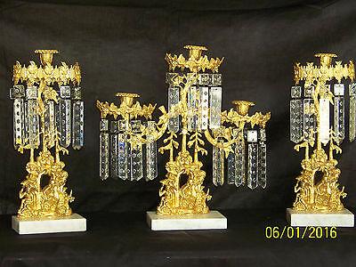 c1850's 3pc Set Girandole Majestic Candelabras Phili.-N.Y. w/Crystal Gold Gilded 12