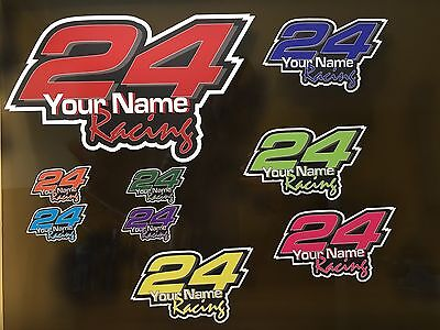 Race car number Vinyl Decal sticker set kit custom made with Molot font