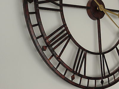 "24"" Large Metal Skeleton Wall Clock Vintage Antique Style Retro Home Decor 60cm"
