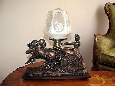 Vtg Art  Deco Frankart Era Egyptian Lamp Glass Shade Chandelier Light Fixture 8