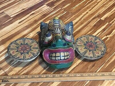 RARE SRI LANKA EXORCISM HEALING MASK HAND CARVED Antique Coiled Cobras NAGA MASK 9