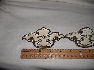4 Antique White/Gold Colored Handled Metal Cupboard/DresserDrawerCabinet Pulls 6