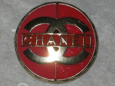 Chanel 1  Matte Gold Metal Red Enamel  Button 22 Mm/ Around 1''   New  Cc Logo 3