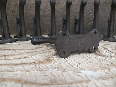 Lot 12 Antique-Style Double Rustic School COAT HOOK Cast Iron Hardware Restore 3