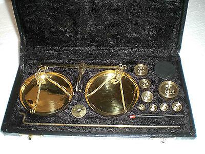 nostalgische Apothekerwaage Goldwaage Waage mit 14 Gewichte von 5mg - 50g 4
