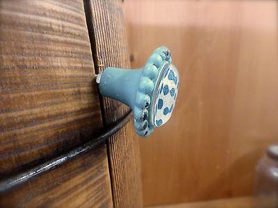 6 BLUE SUN FLOWER GLASS DRAWER CABINET PULLS KNOBS VINTAGE chic garden hardware 6