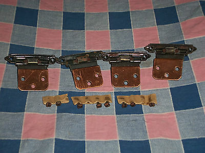 4 Vintage Hinges  w/ 8 Screws  Used Condition  Center Hole to Center Hole 2 Inch 3
