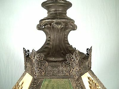 A WONDERFUL EARLY 20th CENTURY 6 SIDED PIERCED TIN FLORAL DECORATED CHANDELIER 8
