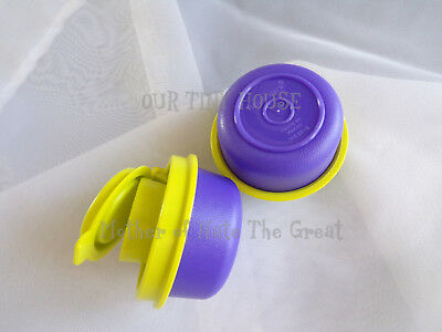 TUPPERWARE SMIDGET SALT AND PEPPER SHAKER SET Spice Small Mini PURPLE Smidgets 3