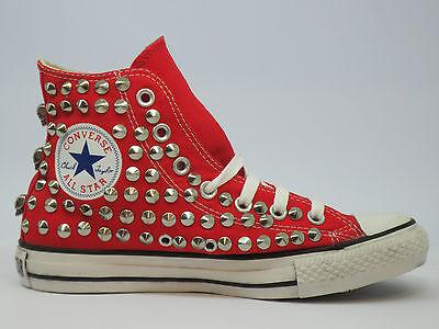 new product 2e6ef 31f78 ... di 12 Converse all star Hi borchie teschi artigianali scarpe donna uomo  nero 7