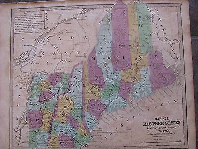 1843 ORIGINAL Map of New Hampshire, Vermont, Maine 2