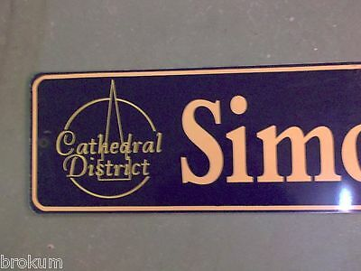"Vintage SIMONEAU ST Cathedral District Street Sign 42"" X 9"" -GOLD on NAVY Ground 2"