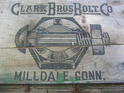 Antique Primitive Ct Country Hardware Store Wood Box Clark Bolt Co Usa Tool Sign 7