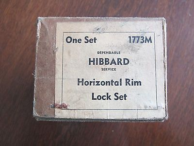 Vtg Hibbard Black Horizontal Rim Lock Set #1773M in original box 4