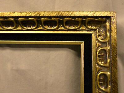 """3212M Vtg 16x20 ORNATE Frame Gold/BLACK VELVET 2 3/4"""" Border EXC COND !! 4"""
