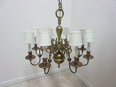 Vintage Brass Quality Williamsburg Federal Hanging Chandelier 2