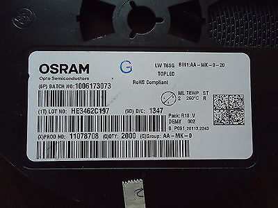 NEW 2000 pcs. OSRAM LOT# HE3462C197, PROD.# 11078708, BATCH# 1006173073